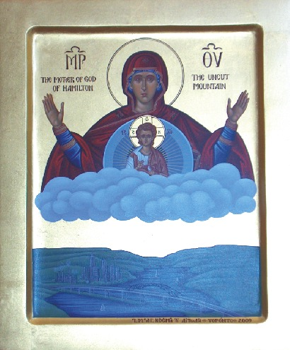 Icon of the Mother of God of Hamilton, by the hand of a nun of the monastery of Saint Kosmas, Bolton, Ontario
